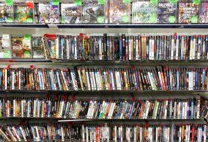shelf rack full of video games