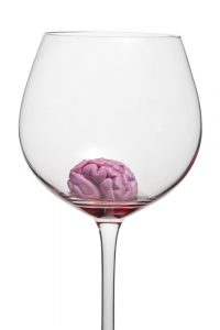 drunk brain in wine glass