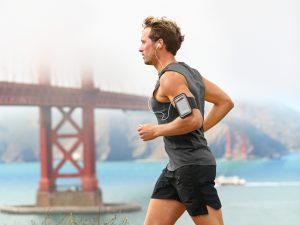 man running with earphones